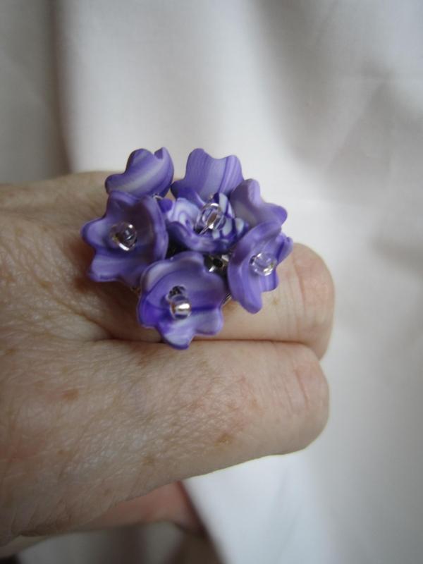 Fimo prstýnek šeřík